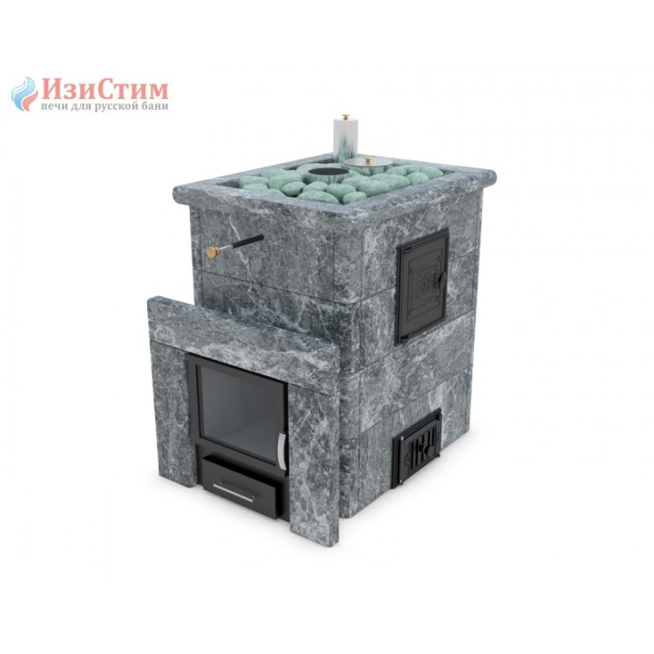 Печь для бани ИзиСтим Анапа М2 в кожухе из талькохлорита с открытым верхом